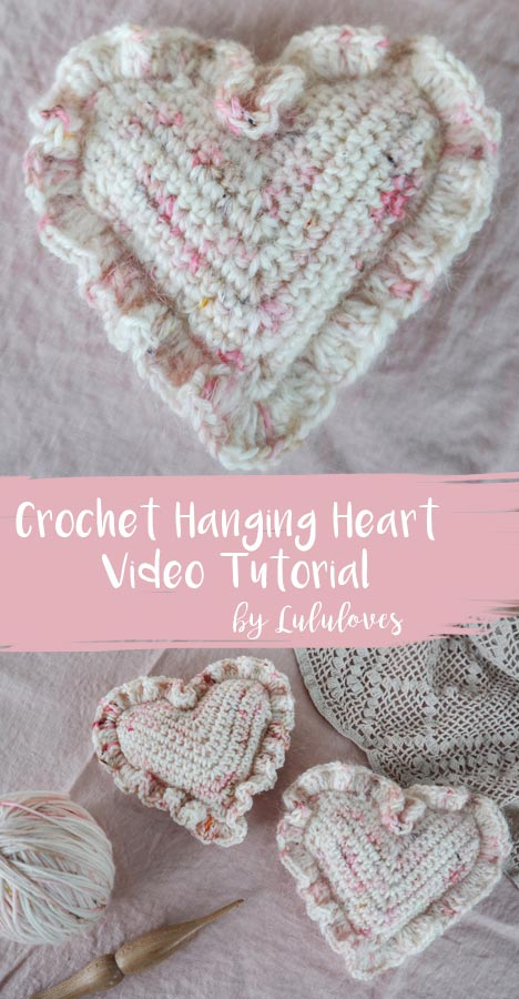 Free Crochet Pattern - Ruffled Hanging Hearts | Lululoves Blog