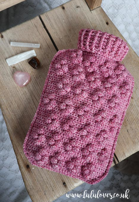 Crochet Hot Water Bottle Cosy from Romantic Crochet Book | Emma Escott (Lululoves)